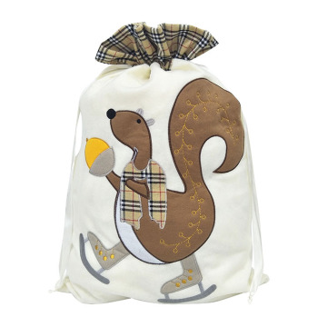 Christmas sack with Cute squirrel pattern