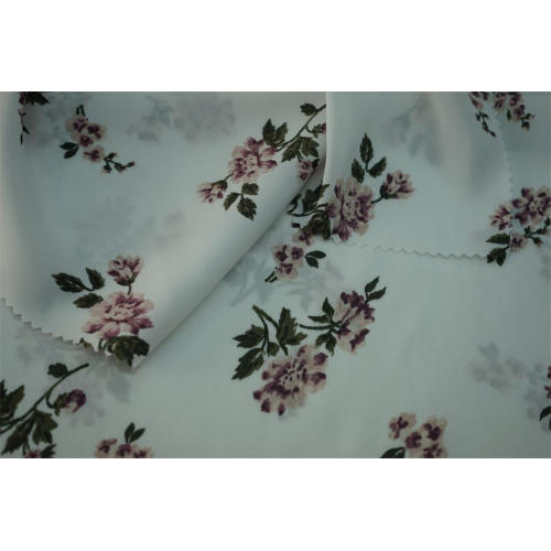 100% Polyester Hammered Satin Flower Print Fabric