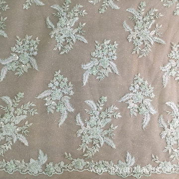Mint Hand Beaded Embroidery Lace Fabric