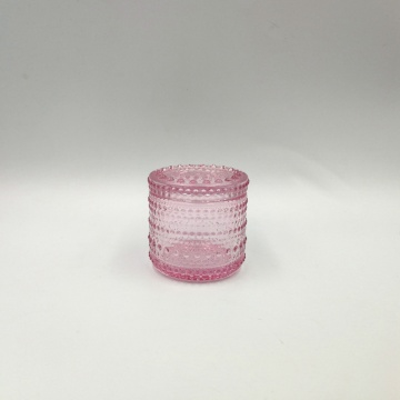 Pink color mini pearl pattern glass jar for candle