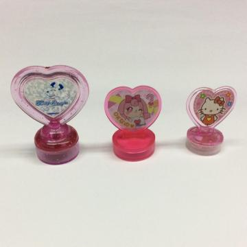 Plastic cartoon heart-shaped handle stamp