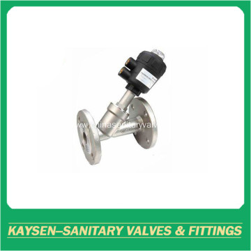 Sanitary flange pneumatic angle seat valves
