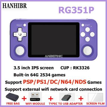 NEW RG351P ANBERNIC Retro Game Console RK3326 Linux System PC Shell PS1 Game Player Portable Pocket RG350 Handheld Game Console