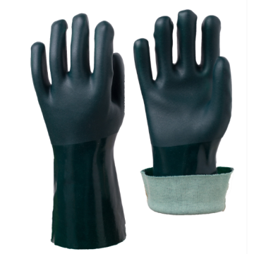 Anti-slip Green PVC coated Gloves