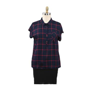Women Casual Plaid Blouse Long Sleeve