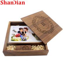SHANDIAN USB flash drive Wooden Photo Album wood usb Box USB disk Pen drive 8GB 16GB 32GB 64GB Wedding Studio gift usb stick
