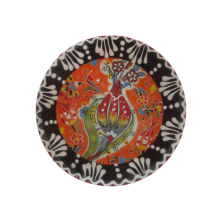 Hand Made Tile Patterned Kaolin Clay Quartz Limestone Bowl 8cm Suitable for use as a gift Orange