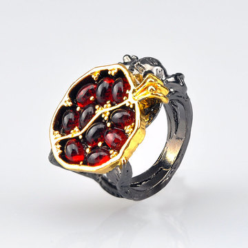 Vintage Fruit Fresh Red Garnet Rings For Women Gifts Resin Stone Pomegranate Jewelry Ancient Anniversary Ring P5S600