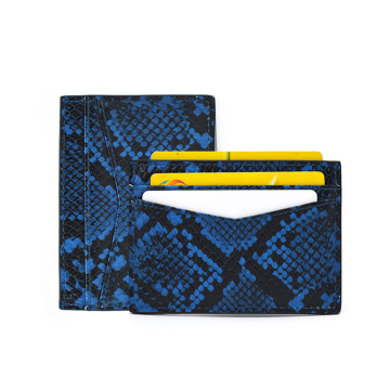 Python Leather Slim Card Holder with 5 Slots