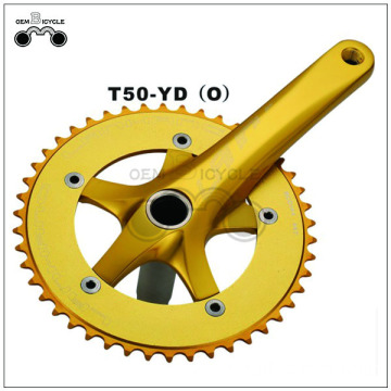 OEM gold single speed aluminum bicycle crankset
