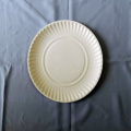 "8.5' 9"" Round Paper Plates Embossed Design White"