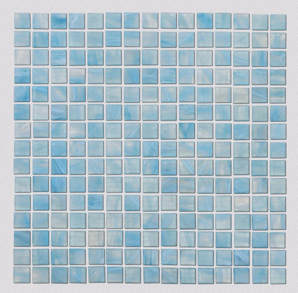 Light Blue Patterned Glass Mosaic Tiles