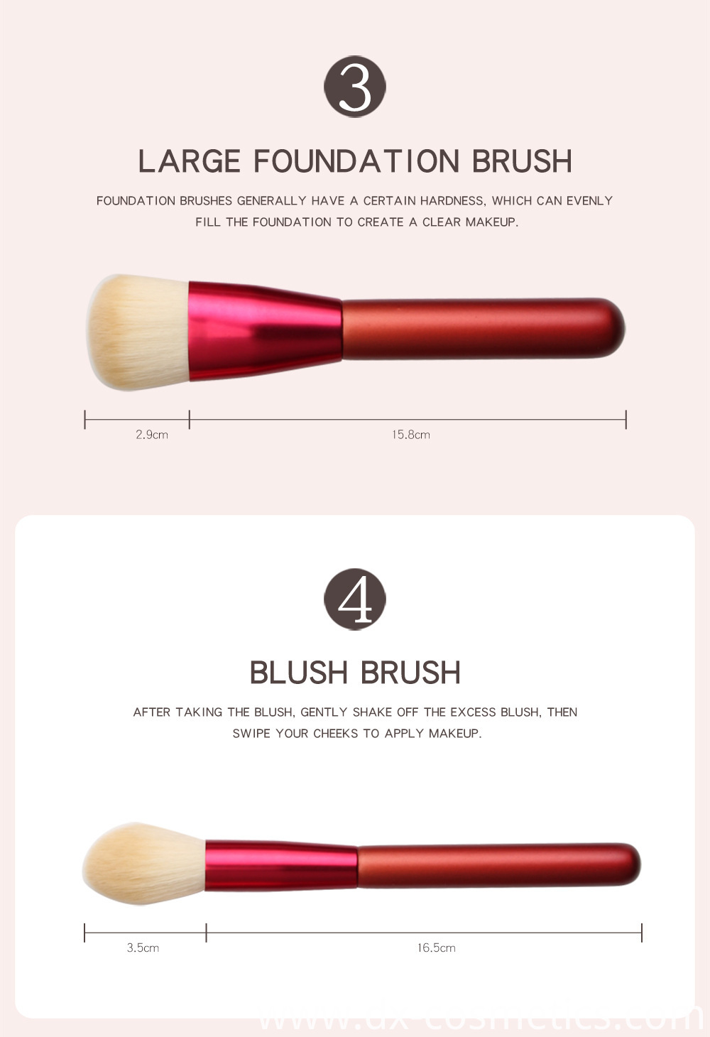 12 PCS Red Handle Makeup Brushes Set Size 2