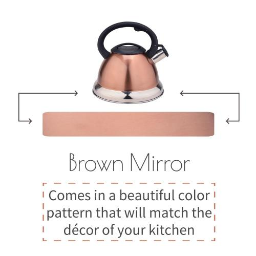 Brown Mirror Stainless Steel Whistling Tea Kettle
