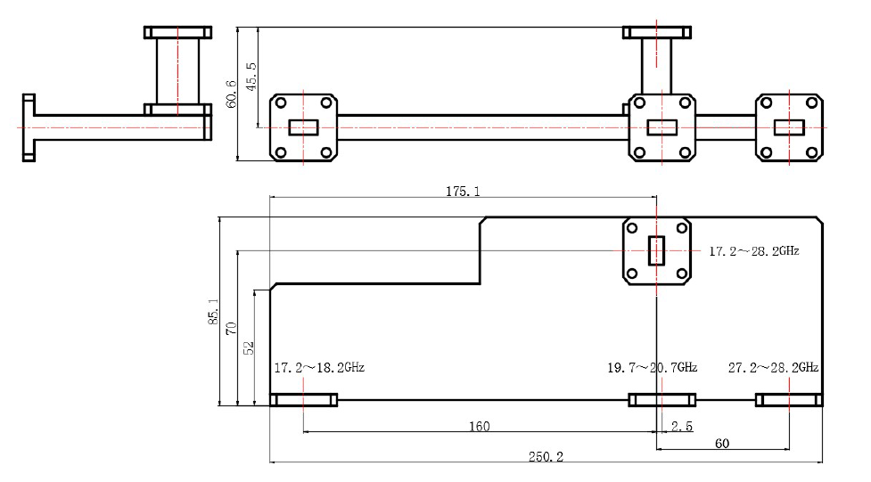 drawing for waveguide multiplexer