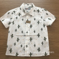 Full print cactus kids' 100%cotton short sleeve shirt