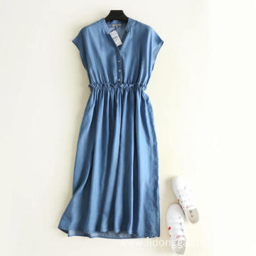 Women's Sleeveless High Waist Denim Ceiling Dress