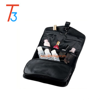 Leather hanging toiletry travel bag organizer