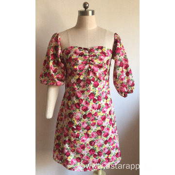 Sweet Bubble Sleeve of Cotton Printed Dress