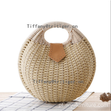 Summer customized Rattan handbags woven women round rattan bag