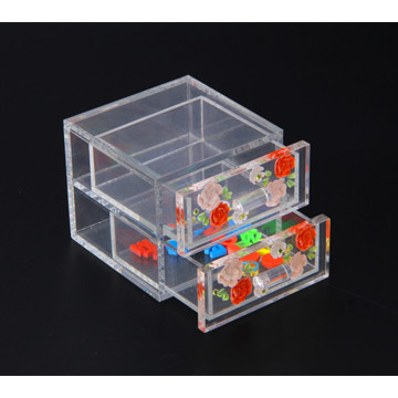 Acrylic Mini Jewelry Box with 2 Drawers