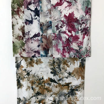 Leaf Design Rayon Semi-Digital Super Fabric With Stone