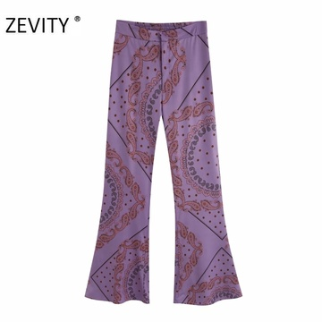 ZEVITY Women vintage cashew nuts print flare pants female leisure zipper fly paisley retro Trousers chic back pockets pants P920