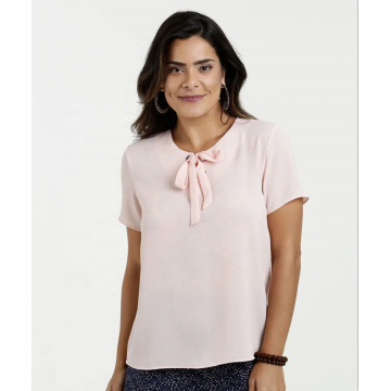 Solid Bowknot Eyelet on the collar Tops T-Shirt
