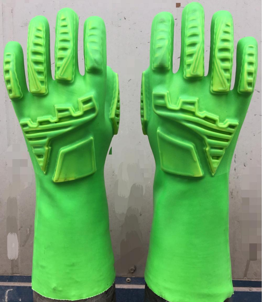 Green PVC gloves with TPR on hand back