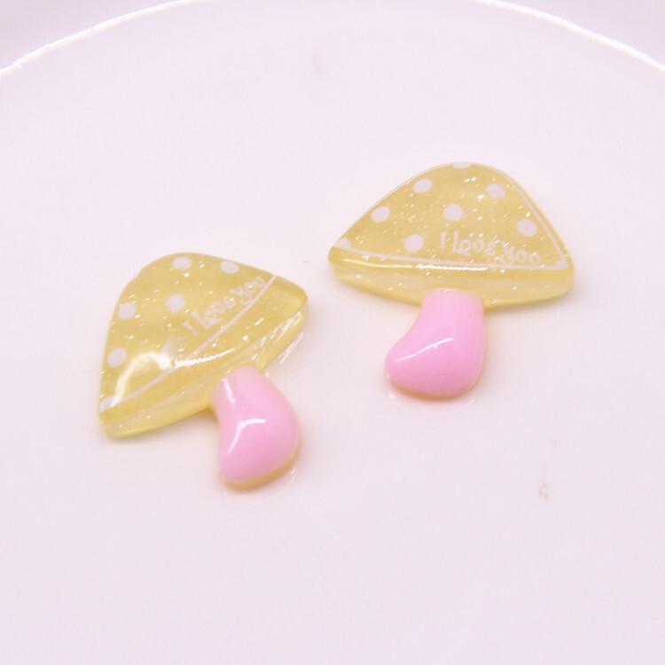 20Pcs Transparent Glitter Resin Mushroom Flatback Cabochon DIY Hair Bows Accessories Flat back Resin Cabochons Embellishments