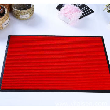 Door entrance ribbed striped polyester floor door mat