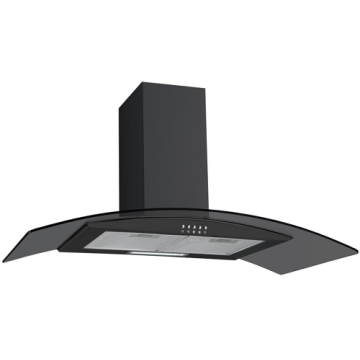 60cm Curved Glass Cooker Hood in Black