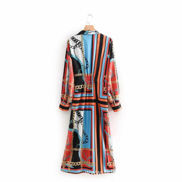 Paisley Pattern Round Neck Loose Long Sleeve Dress