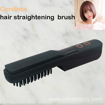 Wireless hair straightening comb