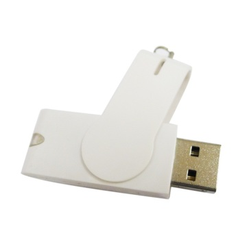8GB White Swivel Plastic Clip USB Flash Drive