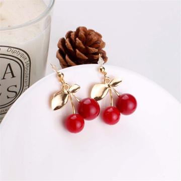 YOBEST Sweet fruit fresh cherry ear drop female fashion youth beautiful girl students earrings