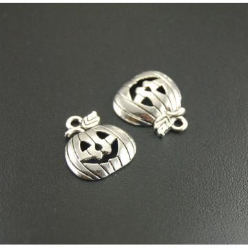 50 pcs Metal Alloy Halloween Silver Color Pumpkin Charms Pendants Smile Pumpkin Jewelry Charms 19x16mm A277