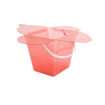 pink packaging bucket with handle plastic gift box