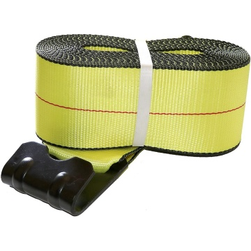 ENHANCED SAFETY Cargo Winch Strap with Flat Hook