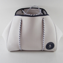 Summer hot sale perforated neoprene white beach bags