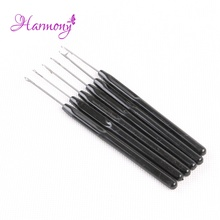15pcs Black color plastic handle hook needle threader loop pulling needle for micro hair extensions tools