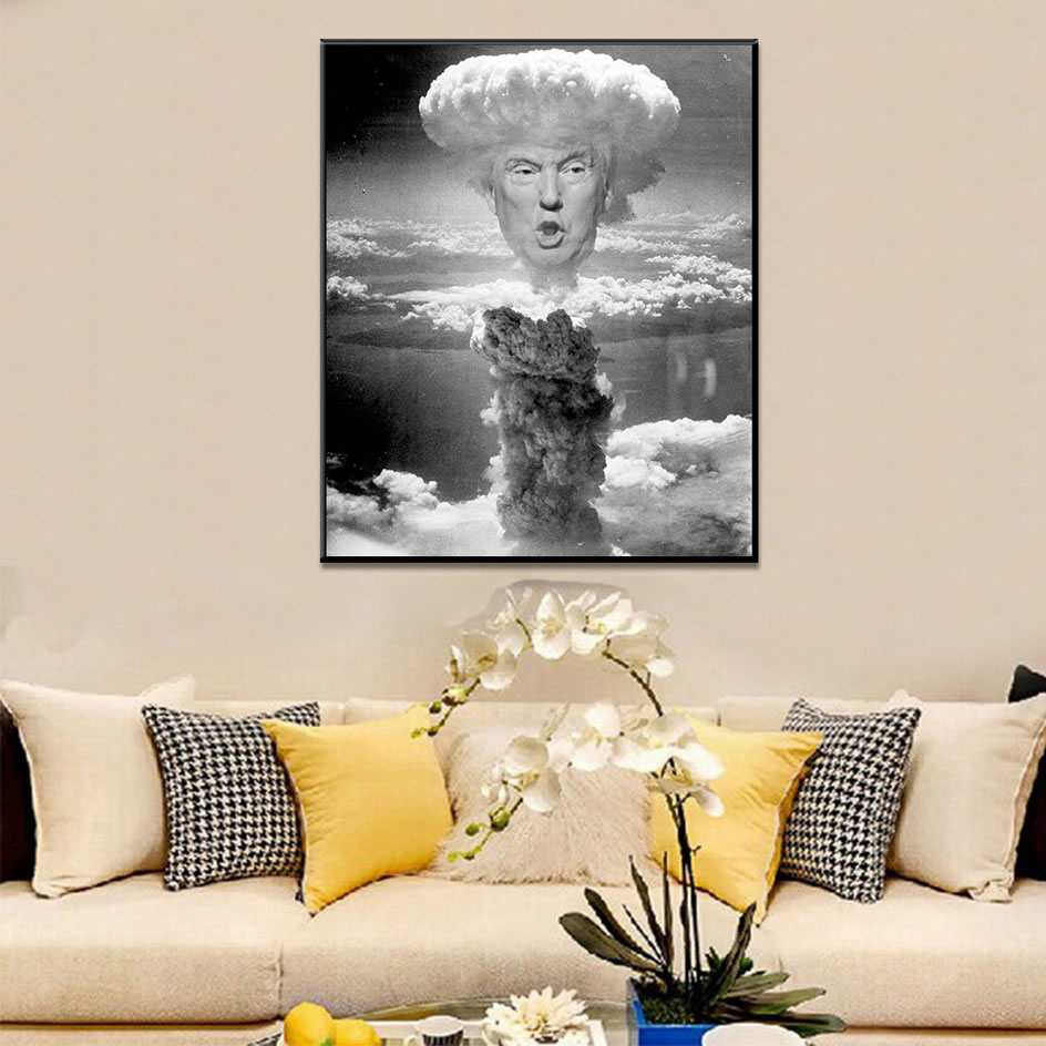 Donald Trump Mushroom Cloud Black White Posters And Prints Wall Pictures For Living Room Wall Art Decoration Canvas Painting