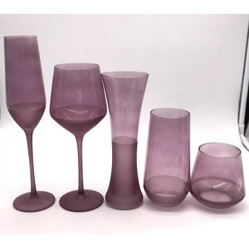 purple color stemless wine glass cup champagne flute