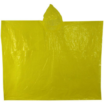 Cheap Fashion Yellow Plastic Disposable rain Poncho
