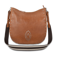 Rivet Female Large Capacity Saddle Leather crossbody bag