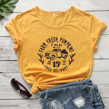 Farm fresh pumpkins graphic women fashion cotton casual young hipster slogan grunge tumblr hipster tees unisex party tops O072