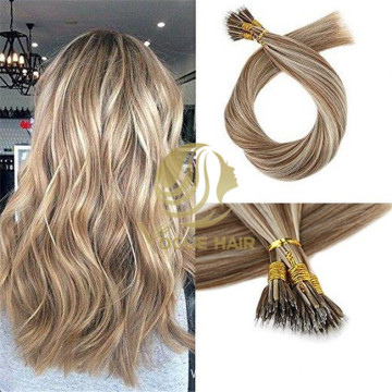 Nano ring remy cuticle human hair extensions