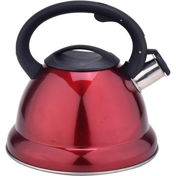 Red Mirror Stainless Steel Whistling Teapot