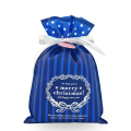 Small Blue Christmas Recyclable Drawstring Plastic Bags