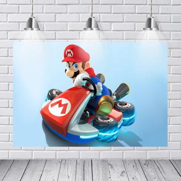Photo studio accessories Mario Kart custom photography background children birthday party banner photo backdrop